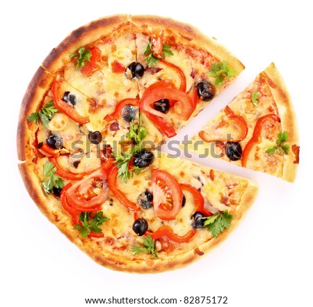 sliced ??pizza isolated on white