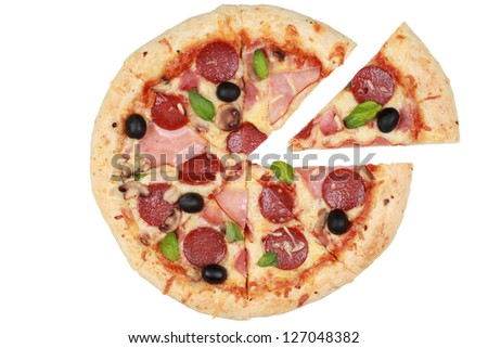 Sliced Pizza with ham, mushrooms and pepperoni, isolated on a white background