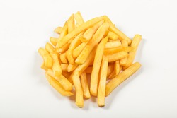 sliced potatoes, fries, fried with salt, on an isolated white background