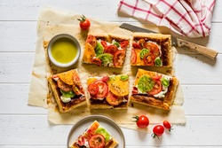 Sliced Puff Pastry, Herbed Cream Cheese and Sliced Fresh Tomato Tart