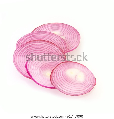 sliced purple onion on white with copy space