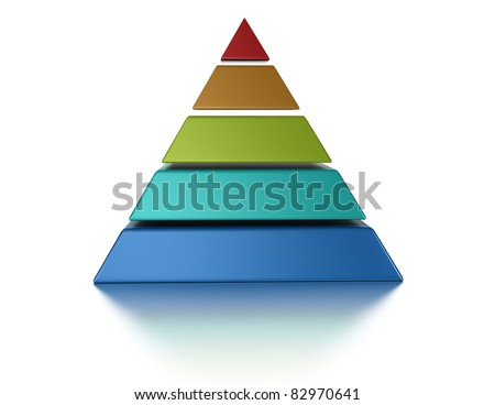 sliced pyramid, 5 levels isolated over a white background