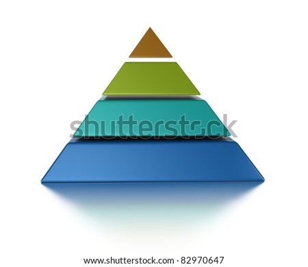 sliced pyramid, 4 levels isolated over a white background