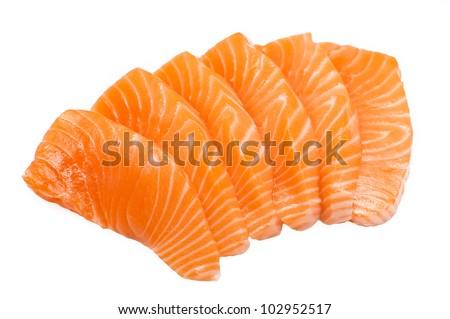 Sliced raw fatty salmon (Salmon sashimi) isolated on white background