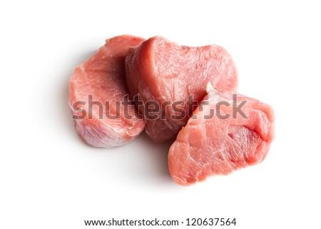 sliced raw pork meat on white background