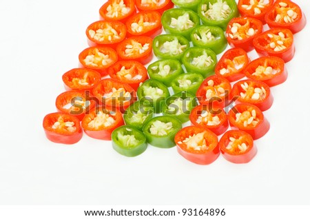 sliced red and green chilli pepper