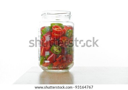 sliced red and green chilli pepper in the glass