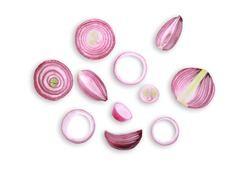 sliced red onion isolated on white background ,flat lay ,top view