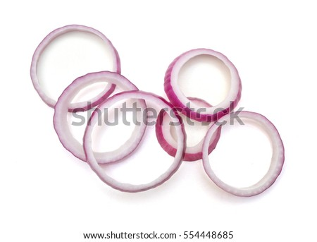 Sliced red onion on white background Stockfoto ©