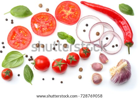 sliced red onion, red hot chili pepper, tomato, garlic and spices isolated on white background. top view - Shutterstock ID 728769058