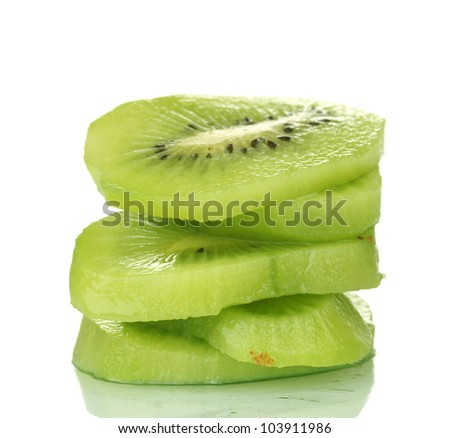 sliced ??ripe kiwi isolated on white