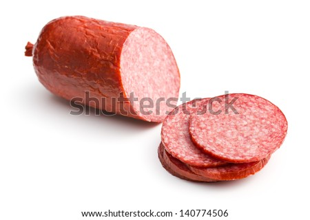 sliced salami on white background