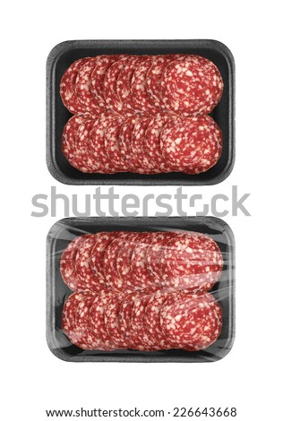 Sliced sausage in black food packaging tray isolated on white background