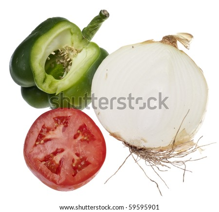 Sliced Sections of a Green Bell Pepper, Tomato, and White Onion Isolated on White with a Clipping Path.