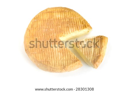 sliced soft cheese isolated on white background