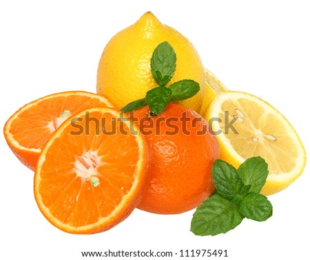 Sliced tangerine and lemon with leaf mint on a white background.