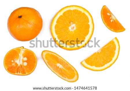 Sliced tangerine and oranges isolated on white, top view.