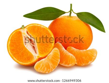 sliced tangerine path isolated leaves #1266949306
