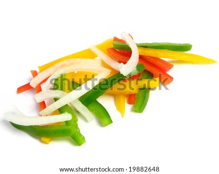 Sliced three color peppers and onion in sticks, on white background