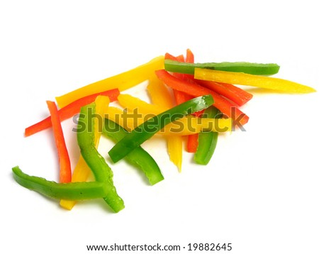 Sliced three color peppers in sticks, on white background