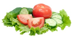 sliced tomato and cucumber with lettuce isolated on white background