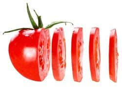 sliced tomato isolated on white background