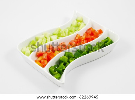 Sliced Tomatoes, Cucumber and Capsicum Salad served in a platter