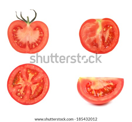 Sliced tomatoes. Isolated on a white background.