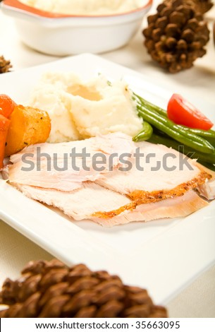 Sliced turkey breast on square plate with vegetables