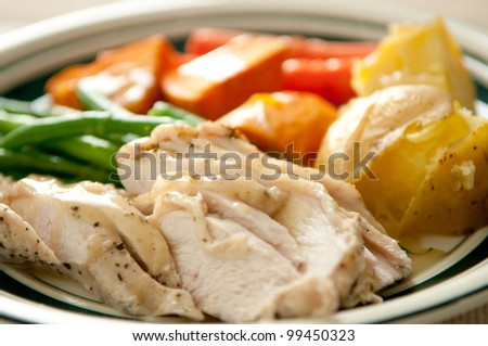 sliced turkey with green beans, roasted potatoes, yams or sweet potatoes and roasted carrots with gravy. This is a very colorful meal.