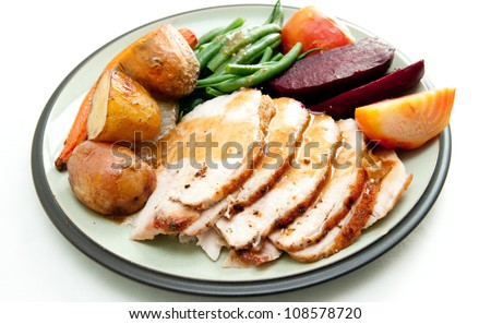 sliced turkey with roasted potatoes, fresh string beans and sugar beets, plus some sweet potatoes