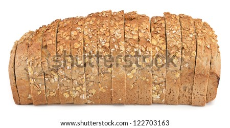 Sliced wheat bread isolated on white background