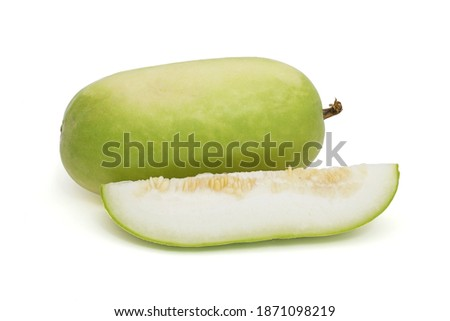 Sliced Winter melon isolated on a white background.  (White gourd, Winter gourd or Ash gourd) Foto stock ©