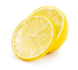 sliced yellow lemon isolated on white background