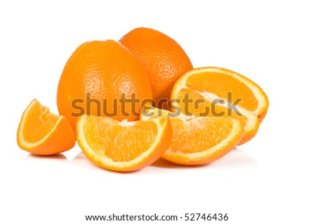 sliced yellow oranges with reflection
