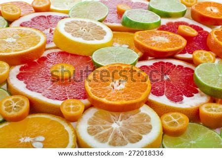 slices citrus top view  surface close up #272018336