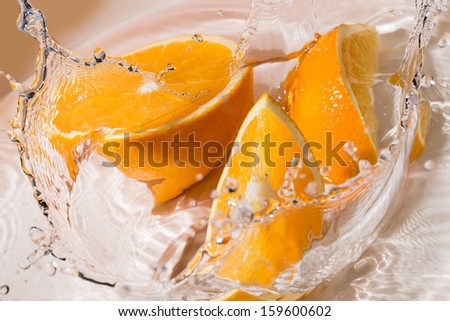 Slices of an orange splash into the water