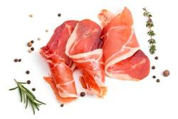 Slices of appetizing jamon