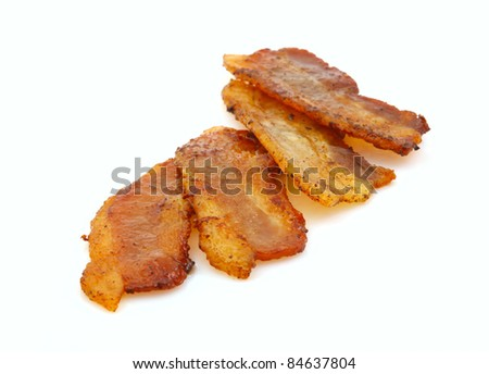 Slices of bacon  isolated on white background.