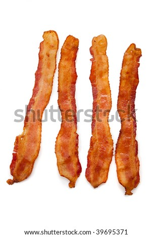 Slices of bacon on a white background