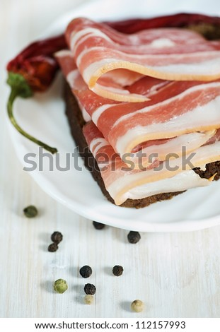 Slices of bacon on the bread