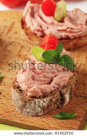 Slices of bread with delicious liver pate