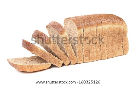 Slices of brown bread. Isolated on a white background