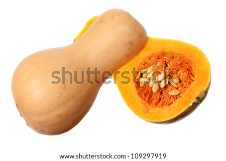Slices of Butternut Pumpkin on White Background
