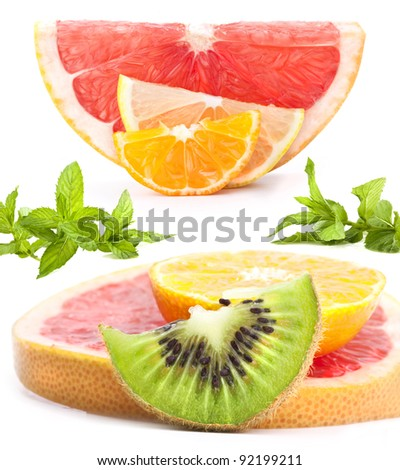Slices of citrus, kiwi and mint on a white background