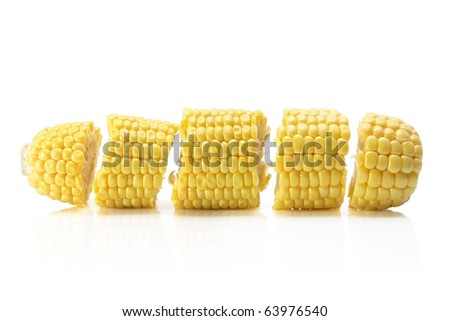 Slices of Corn Cob on White Background - stock photo