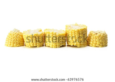 Slices of Corn Cob on White Background