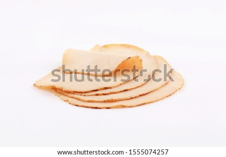 slices of deli meat, cold cuts, appetisers, ham, mortadella, salami on white background Stok fotoğraf ©