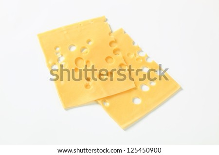 Slices of emmental cheese