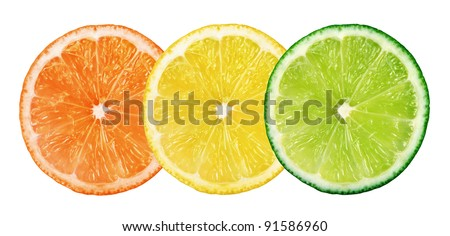 Slices of fresh citrus fruits isolated on white background